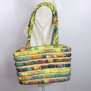 Cappelli straworld straw and fabric bag tote beach